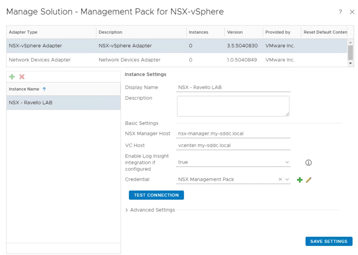 vROPS-NSX-V-connection