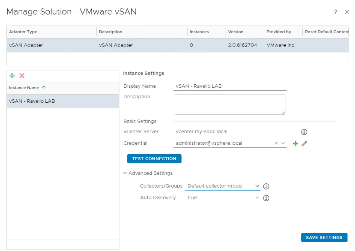 vROPS-vSAN-connection