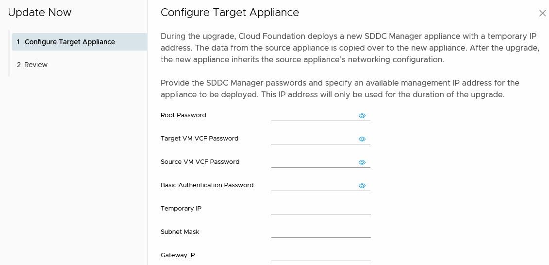 configure target appliance